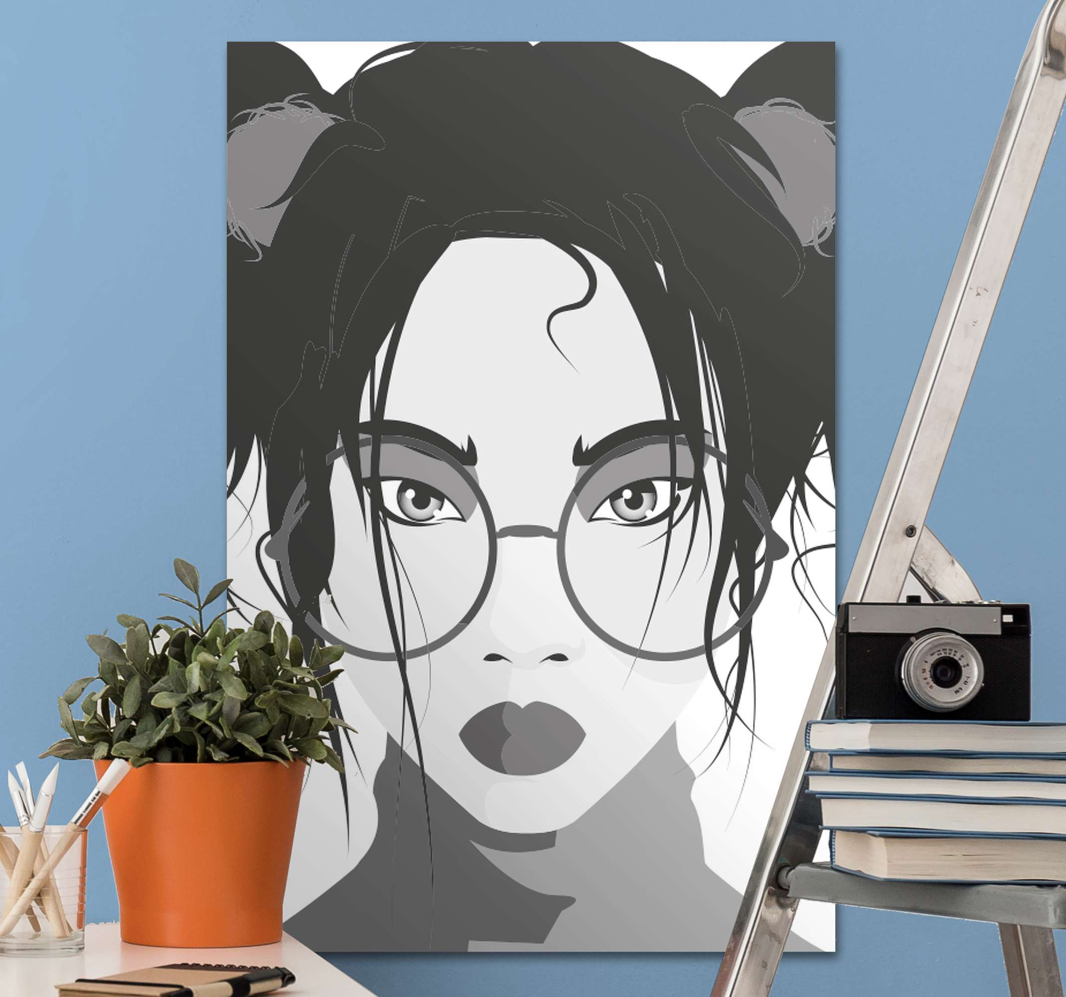 TenStickers. Black and white woman hallway wall art canvas. Black and white woman canvas, it can be placed on any space in a house and for outdoor spaces.  Easy to hang and original.