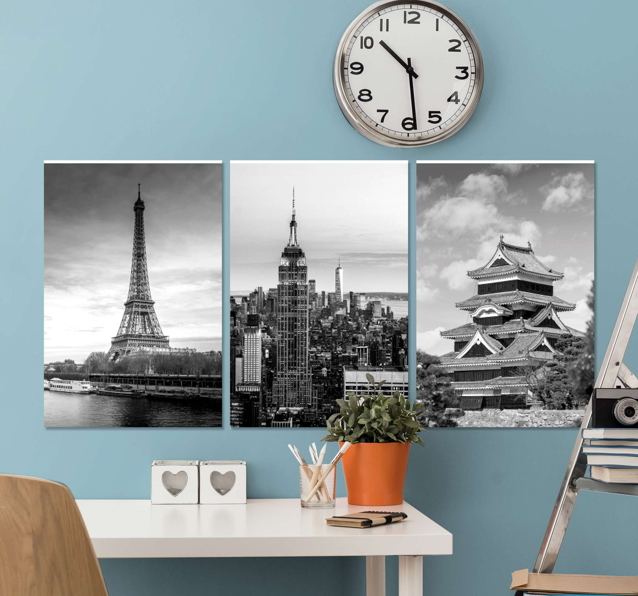 TenStickers. City places hallway wall art canvas. Cities skyline canvas wall art. Beautiful monochrome canvases with different cities landmark illustrations.  It is proof to fading and durable.