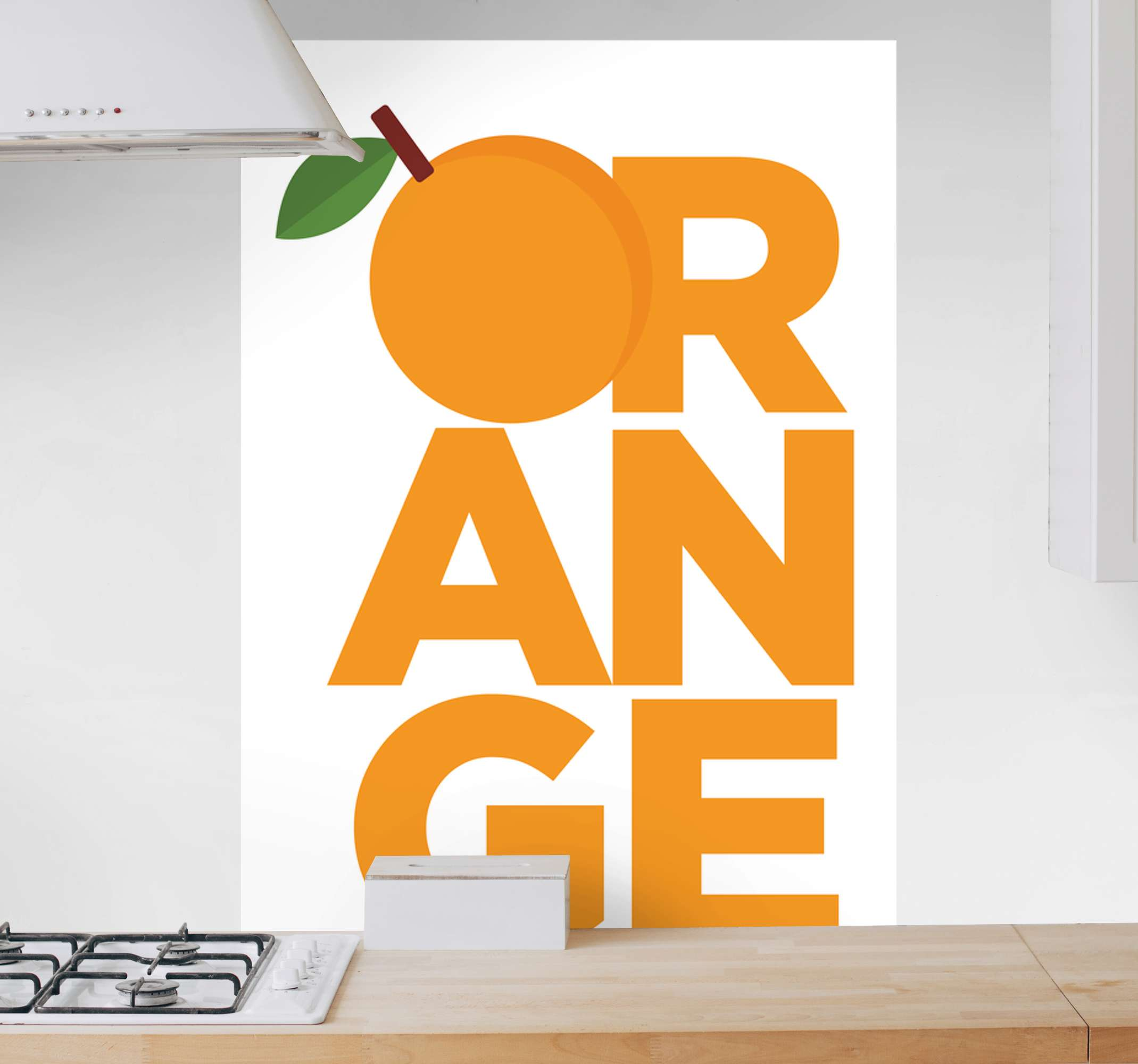 TenStickers. Orange text fruit canvas art. Orange text fruit vinyl canvas design illustrating  the text inscription ''Orange'' with it letter 'O' as an orange illustration.