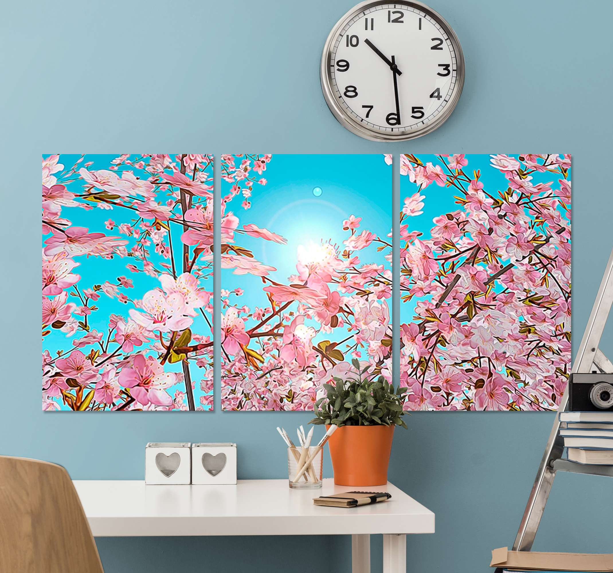 TenStickers. Cherry-tree blue background Tree canvas print. This very perfect looking landscape canvas print product will last a very long time in your home! Purchase this perfect product now!