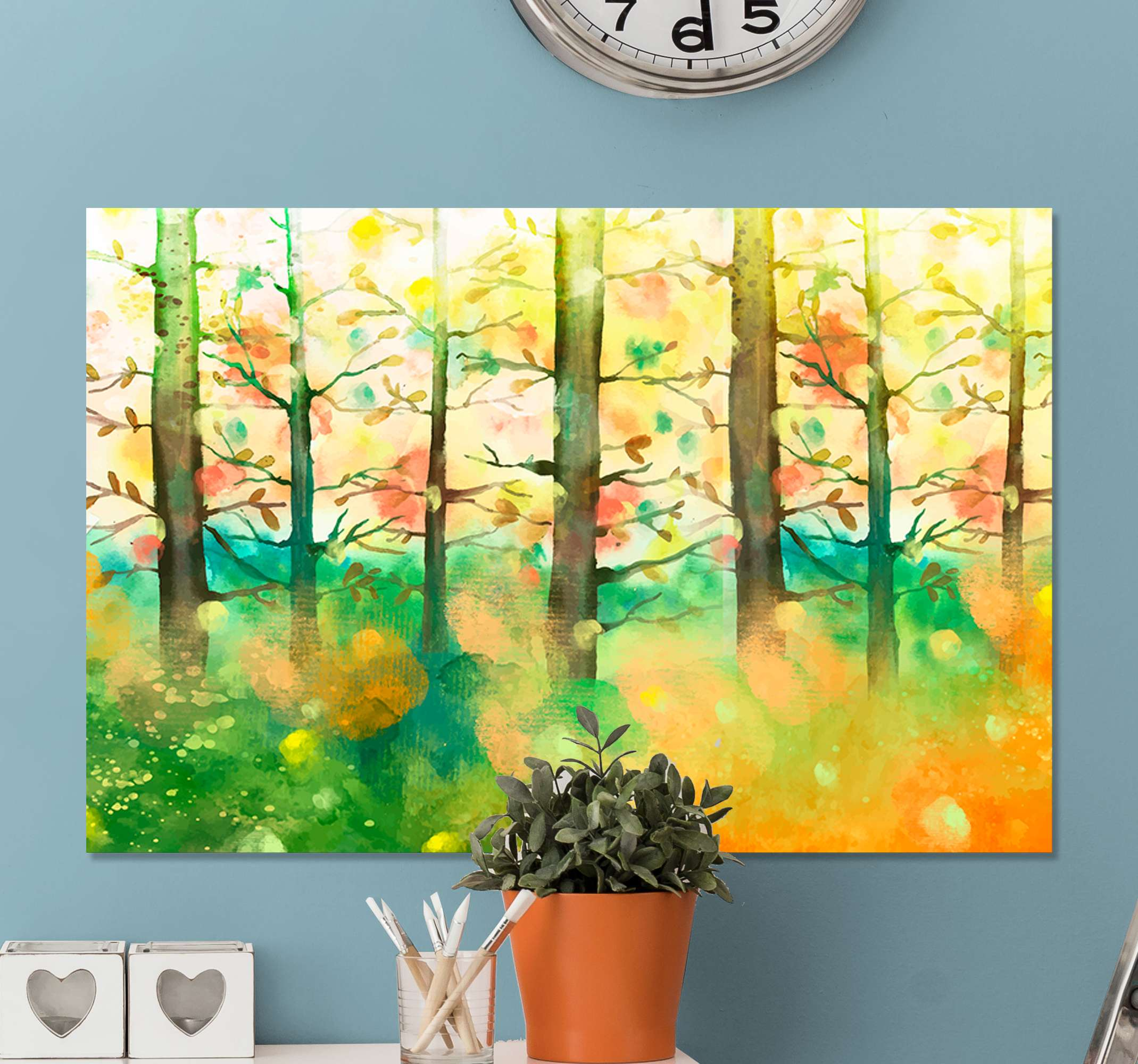 TenStickers. Multicolour tree Tree canvas print. All of your friends and family will be so jealous of your brand new piece of decor with this cute multicolor tree canvas print product! Buy now!