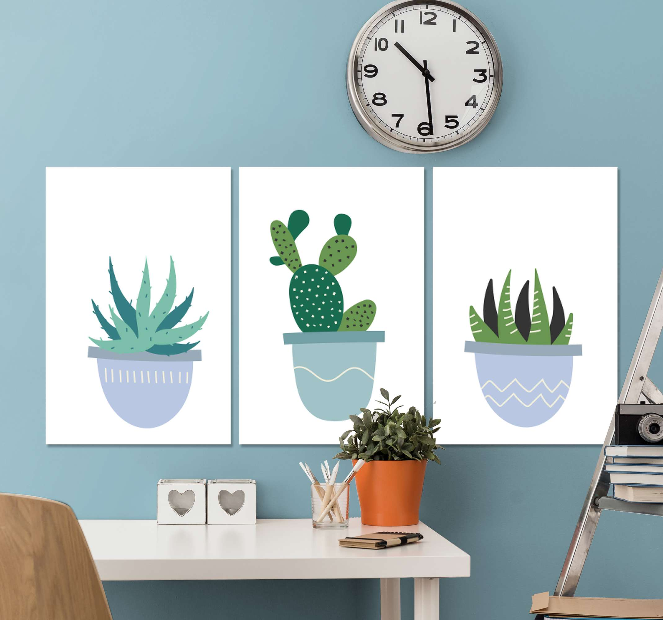 TenStickers. Nordic blue cactus Plant wall prints. A very cool decorative nordic cactus canvas print product that will really give your home more light! Purchase this wonderful product now!