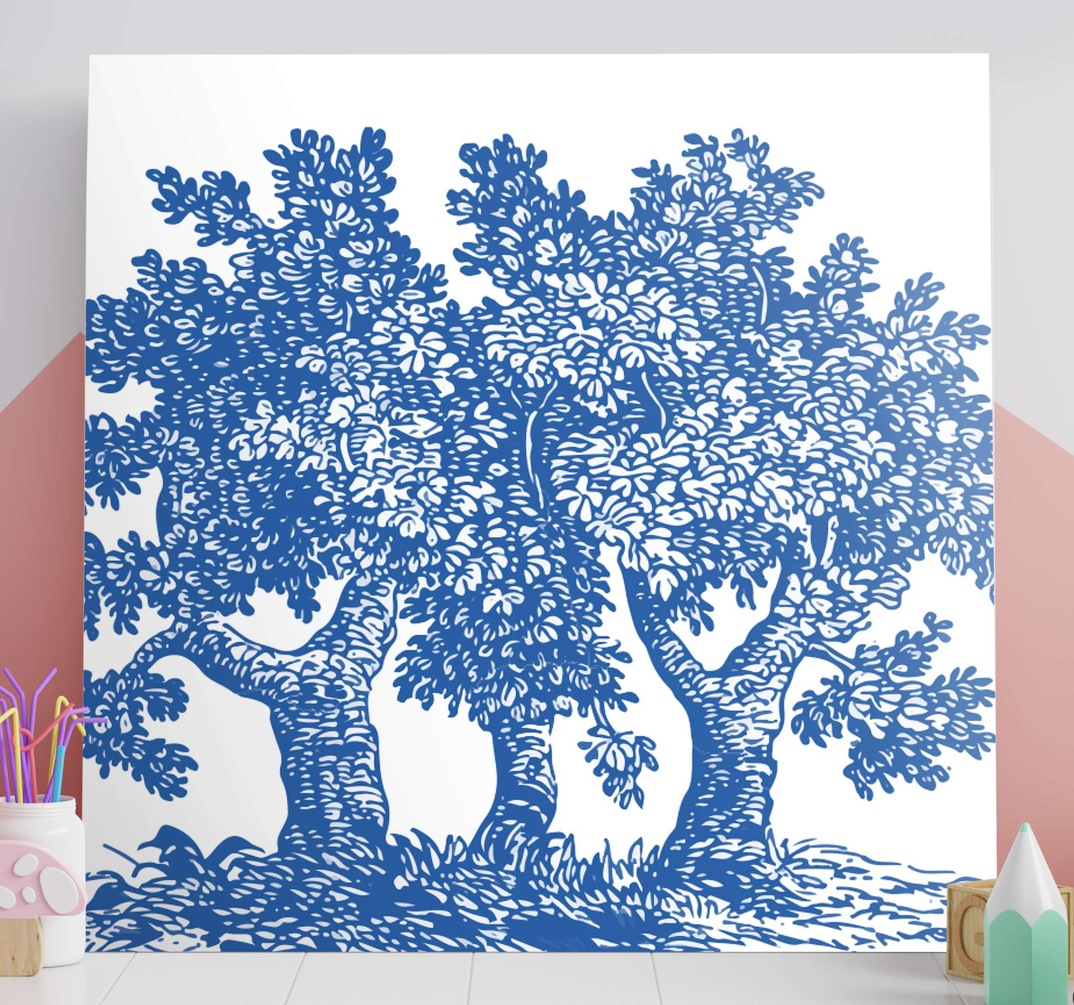TenStickers. Blue magic tree Tree canvas print. Amazing blue magic tree tree wall art canvas from our collection of tree wall canvas prints. It is durable, easy to place on wall and it does not fade