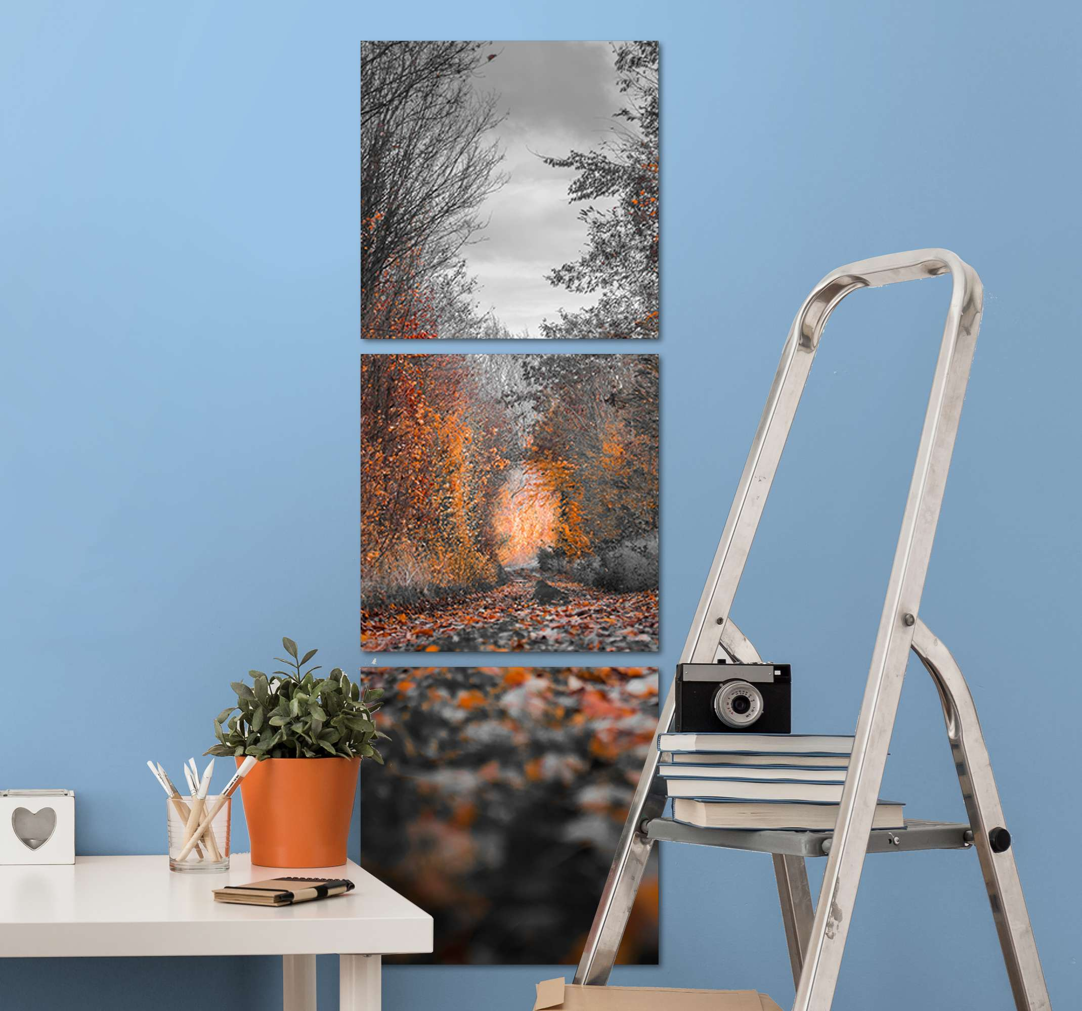 TenStickers. Autumn walk in the rain Tree canvas print. What could be a better gift to give to yourself or someone you know than this pretty landscape canvas print design? Worldwide delivery is available!