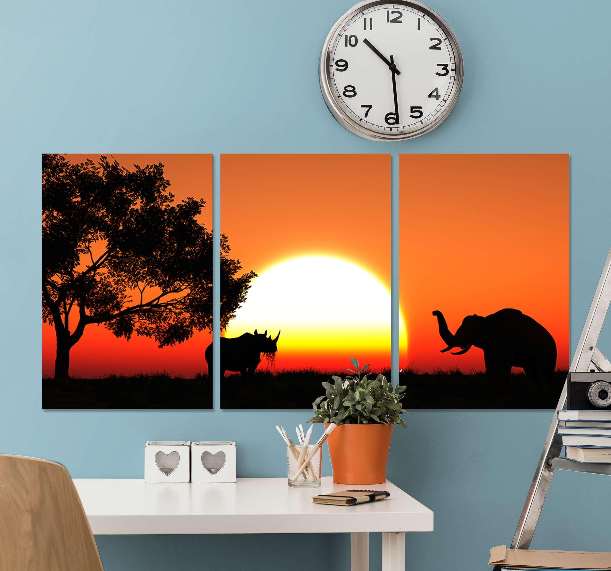 TenStickers. Sabana landscape at down landscape wall art. Sets of home canvas wall art with different landscape illustrations at night. One host the design of landscape with trees, the other with sun set.