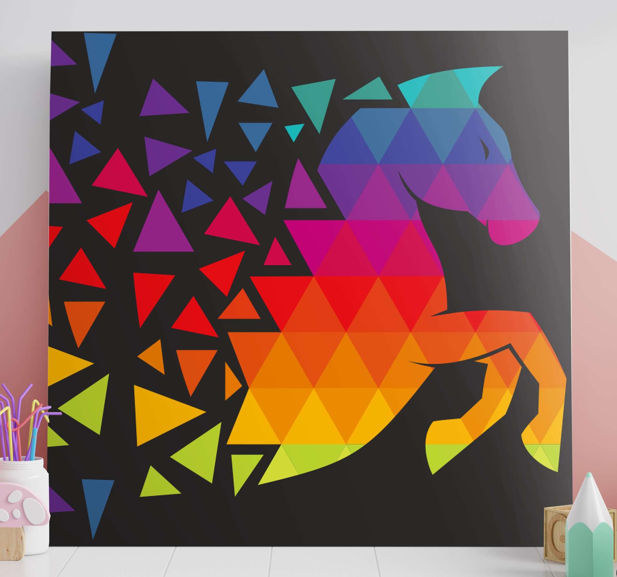 TenStickers. 다채로운 dods 액자 말 사진 말. 이 멋진 말 캔버스 프린트 제품으로 모든 친구와 가족이 새로운 장식을 질투 할 것입니다! 지금 구입하세요!