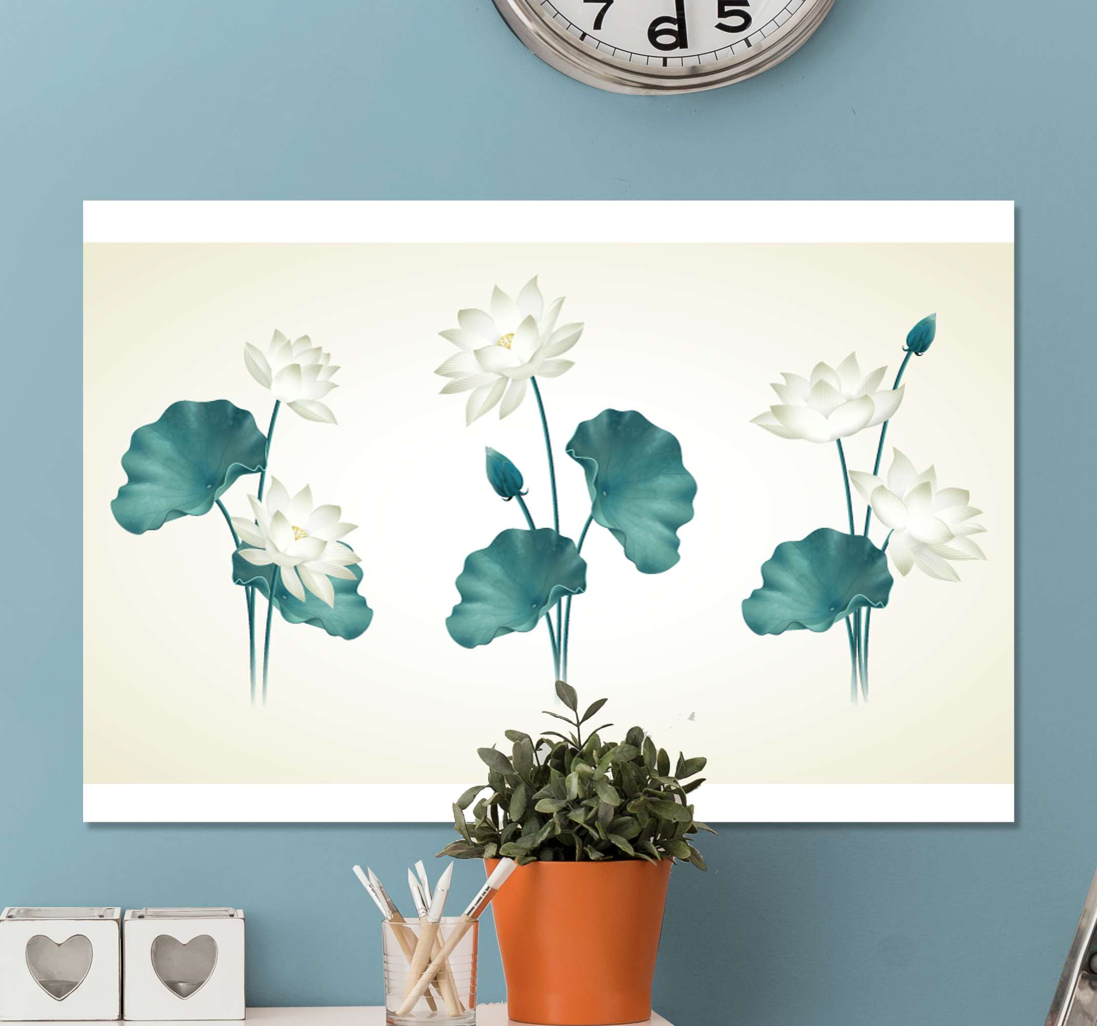 TenStickers. Lotus flower headboard wall art canvas. Lotus flower canvas print that can be decorated on bedroom space, living room and any other space in a house and also for an office.