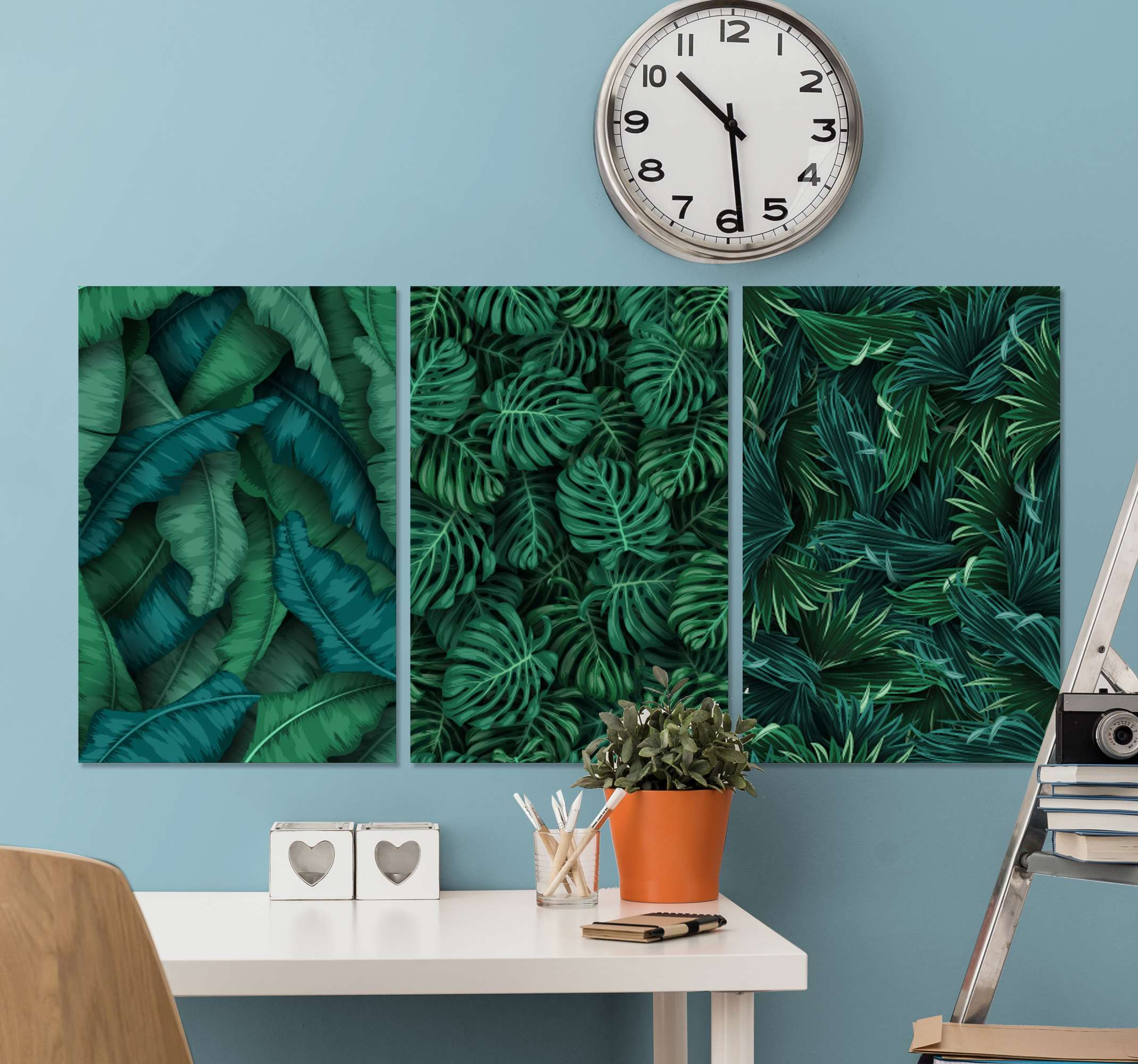 TenStickers. Monsteras headboard wall art canvas. This lovely plant canvas art would be amazing on any space in a house and for an office space. It plant design illustrates monstera plant.