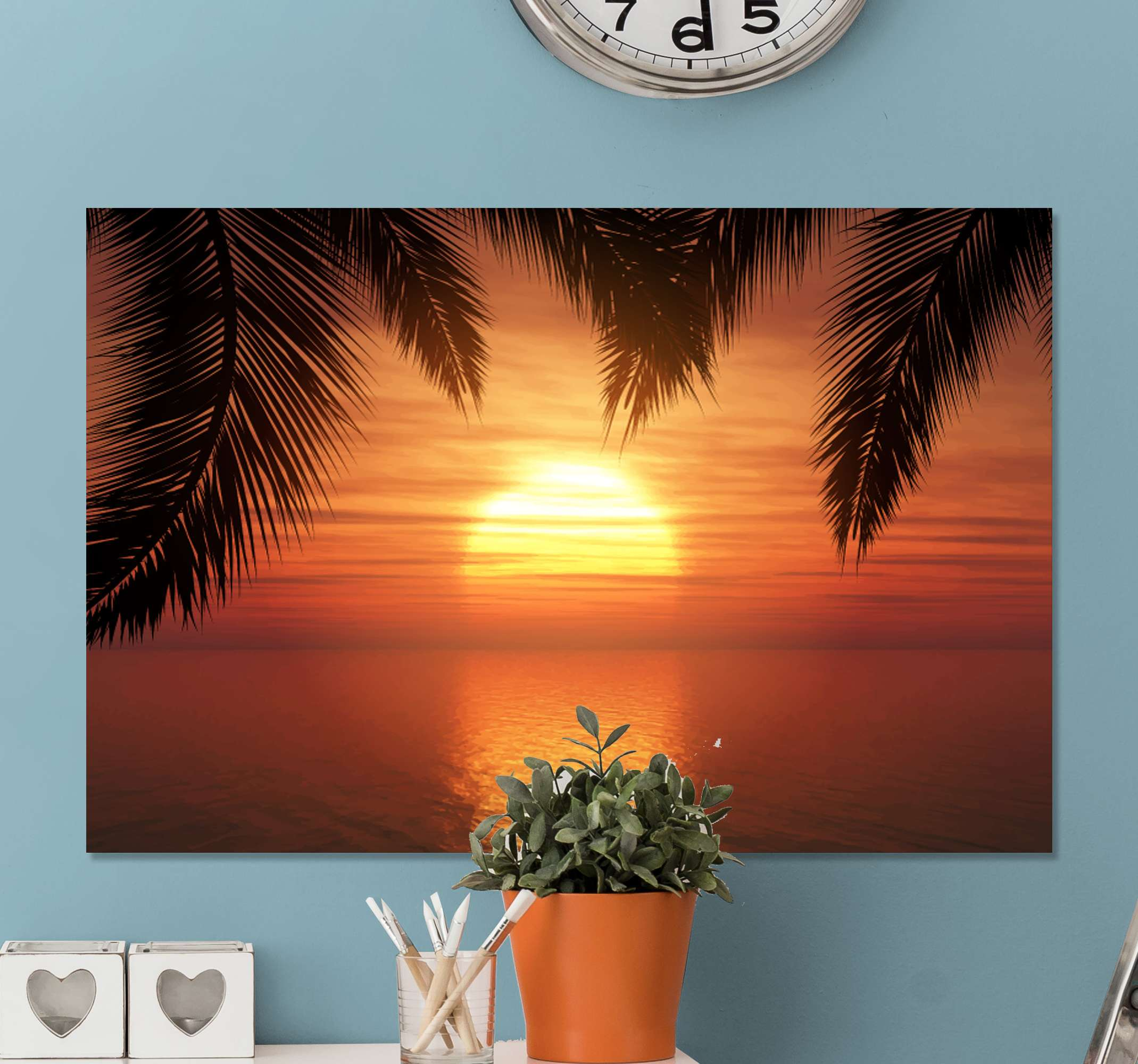 TenStickers. Sunset headboard wall art canvas. Beautiful sunset canvas print for home decoration. the canvas art design shows a very lovely sunset horizon with it beautiful reflection on sea.