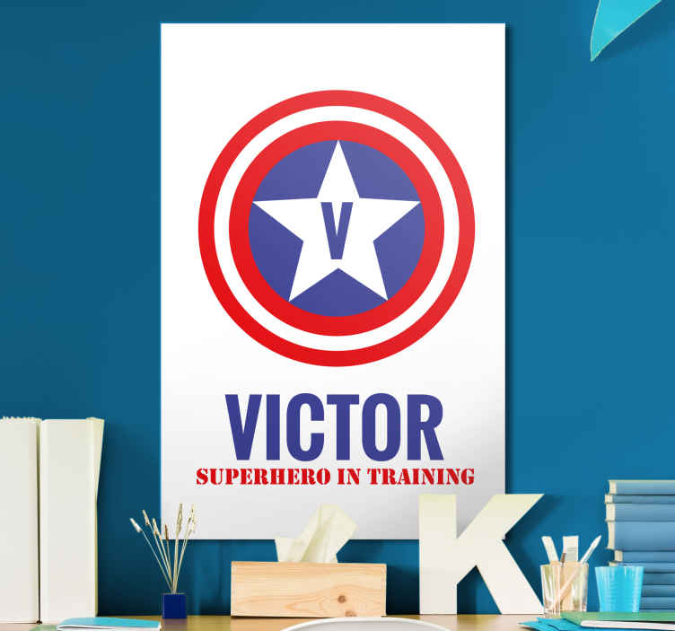 TenStickers. superhero in training customisable canvas prints. The perfect customisable canvas print in a superhero theme just for your kids. A personalised stickers that look amazing.