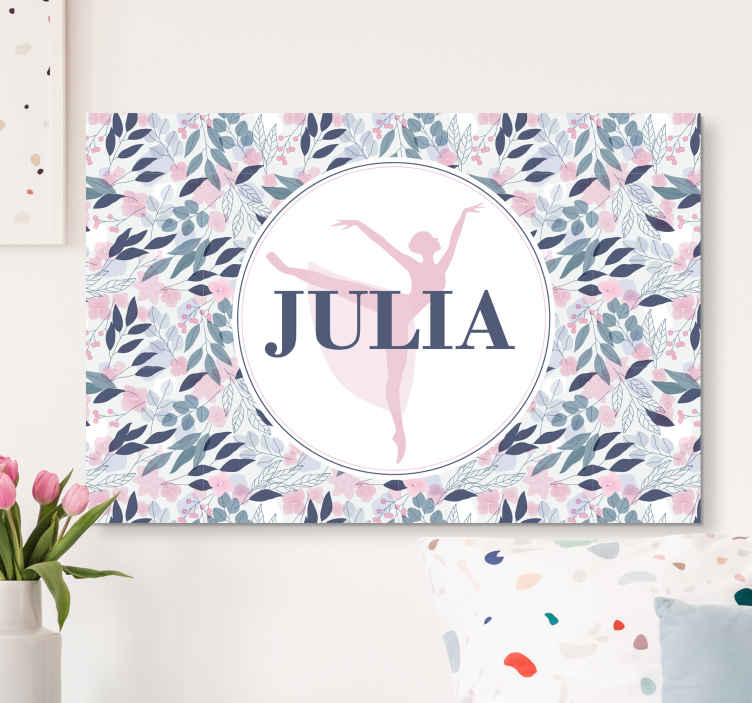 TenStickers. Floral personalised dancer customisable canvas prints. Beautiful personalized floral canvas for wall. This design is amazing and you would definitely love the picture on your wall space.