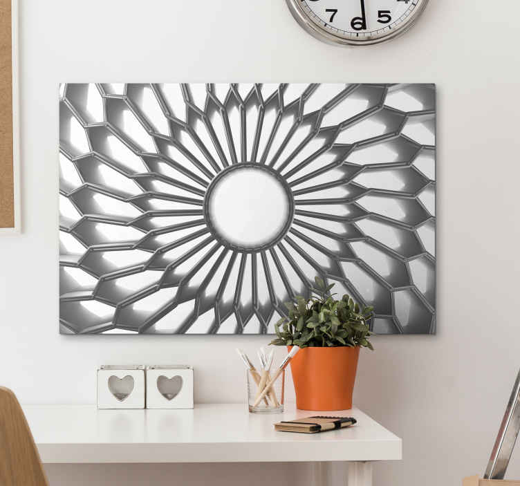 TenStickers. Mandala white diamond 3D modern art prints on canvas. 3D effect mandala canvas print art. A modern and stylish canvas with mandala pattern reflecting in a diamond effect. It is original and easy to hang.