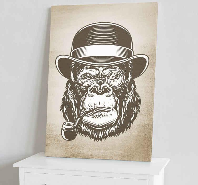 TenVinilo. Cuadro de animales mono fumando. Cuadro moderno para pared para tu hogar. Agregue un toque de arte a su casa con este diseño original ¡Envío a domicilio!
