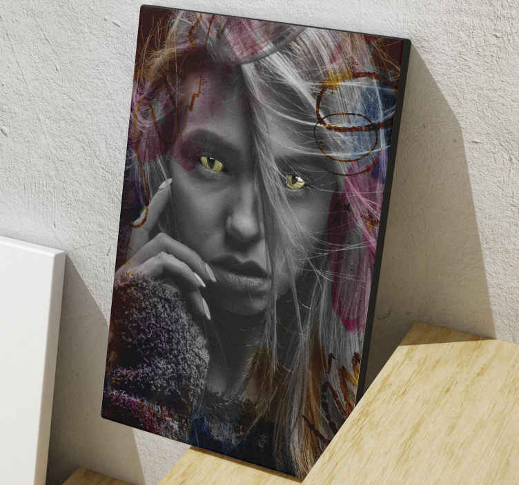 TenStickers. Artistic feline look modern art prints on canvas. Modern frame canvas wall art design of a woman in artistic feline look. A well detailed lady's artwork canvas that you would love on your living room.