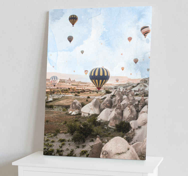 TenStickers. Cappadocia air balloons City skyline prints. Cappadocia air balloons city canvas prints. What an amazing design to decorate any part of your home. It  is very light weight and easy to hang .