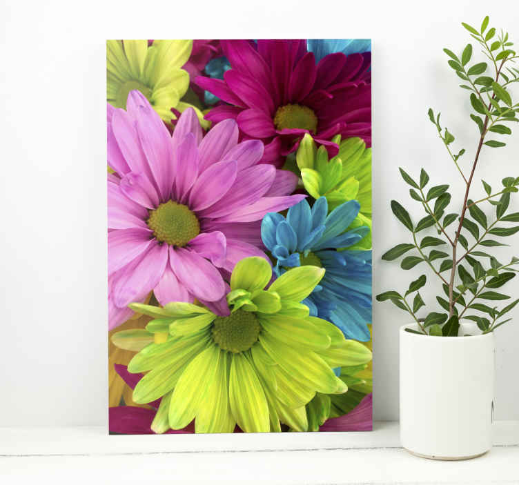 TenStickers. Kleurrijke bloemen canvas. Met ons kleurrijke bloemen canvas schilderij voor aan de muur, zou uw huis op een originele en moderne manier inrichten. Makkelijk aan de muur te hangen en erg licht.