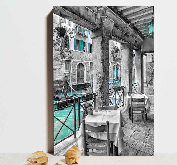TenStickers. man riding on boat beside restaurant venice City skyline prints. Let yourself be transported to Venice with this magnificent canvas of and let its beauty subjugate you. Order now! Home delivery !
