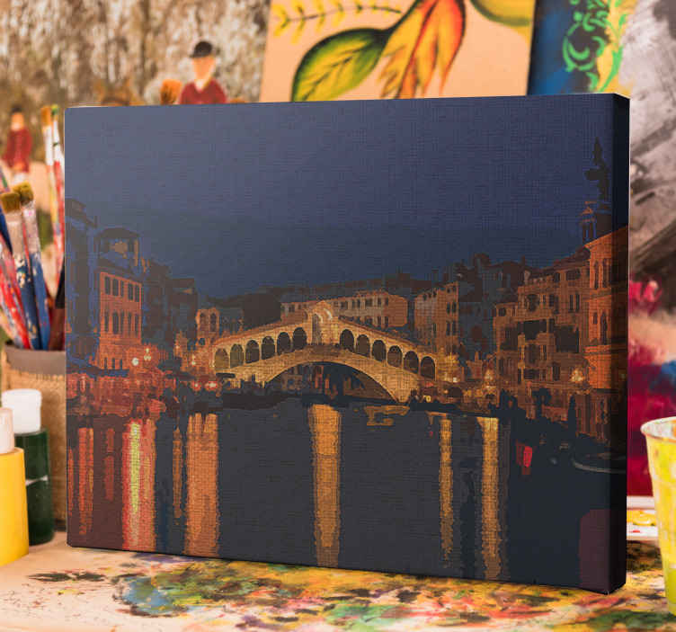 TenStickers. Grand canal Venice City skyline prints. You would love this grand canal Venice city canvas prints with it design in painting texture for your home or office space.
