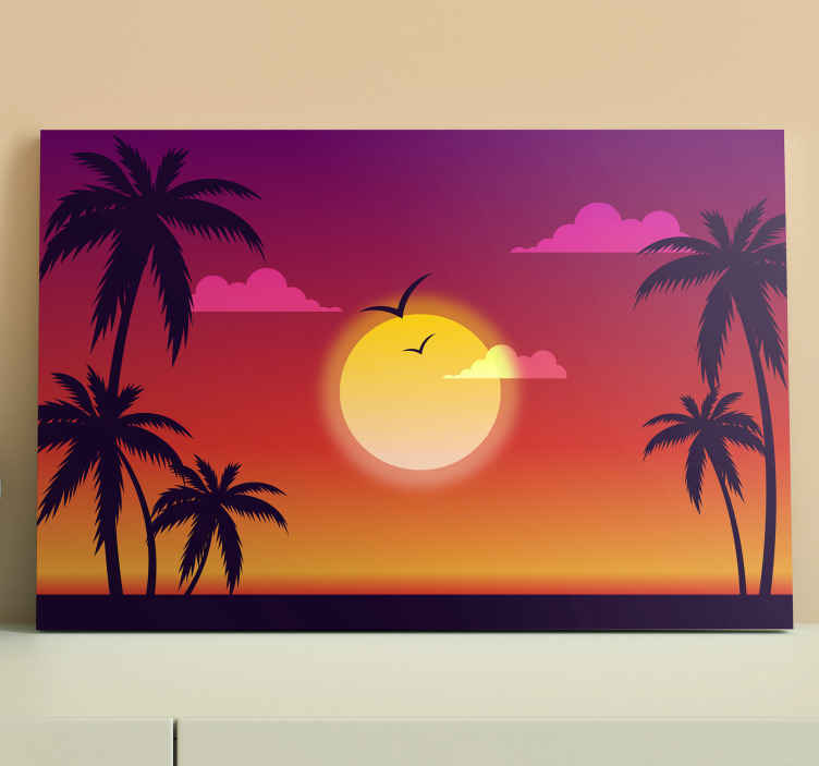 TenStickers. 70's Sunset landscape wall art. 70's sunset landscape canvas for home decoration. The canvas can also be decorated on an office, guest space, etc. The canvas is durable and original.