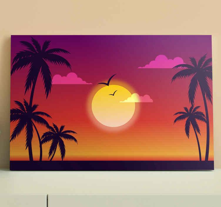 TenStickers. 70年代的日落风景墙艺术. 70年代日落景观帆布,用于家庭装饰。帆布还可以在办公室,客人空间等上进行装饰。帆布经久耐用且原始。
