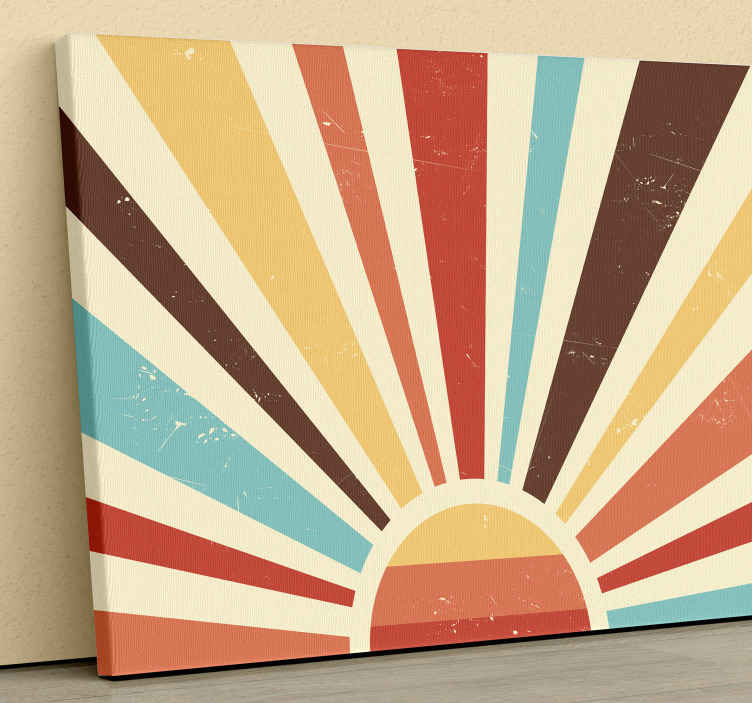 TenStickers. Tableau paysage Coucher de soleil vintage abstrait. Belle art mural de toile de paysage avec un design illustrant la réfraction du soleil dans différentes lignes de couleurs. Toile adaptée à la maison, au bureau, au magasin, etc.