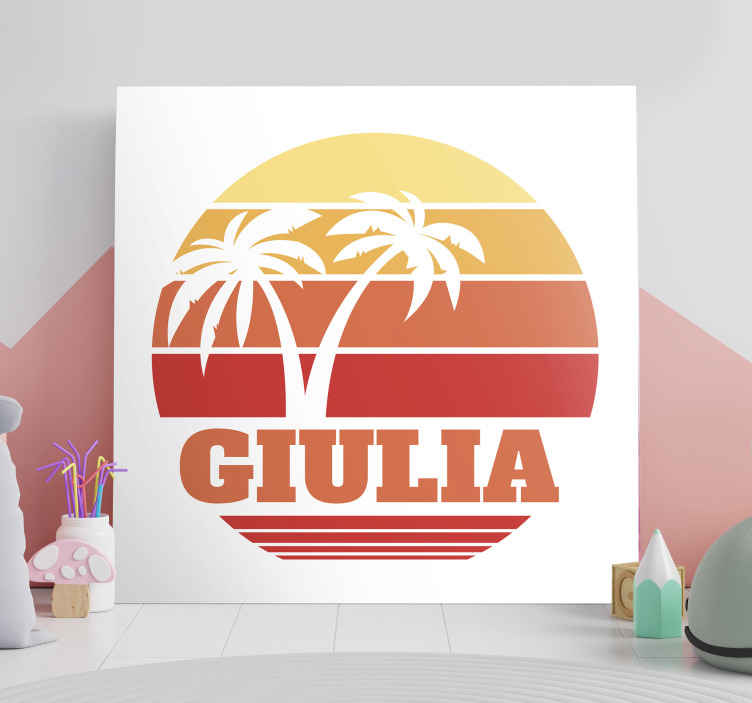 Tenstickers. Retro solnedgång med ditt namn anpassningsbara kanvastryck. Personifierat namn vintage solnedgång landskap kanvastryck. Härlig duk lämplig för att dekorera någon del av ett hus eller annat utrymme.