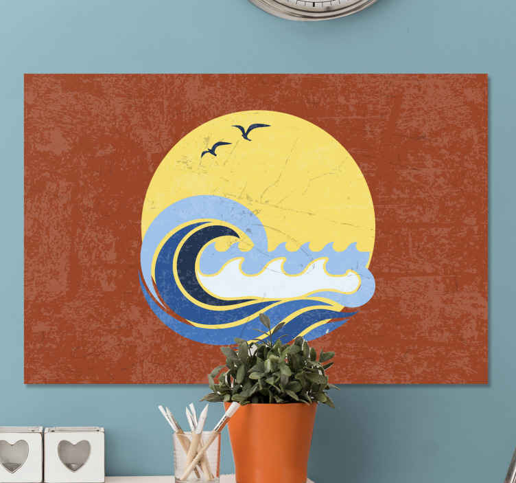 TenStickers. Sun, Beach and Wave 70's canvas wall art. Sun, beach and wave vintage canvas print. Enhance the look on your home or office space in a modern way with our original seaside canvas print.