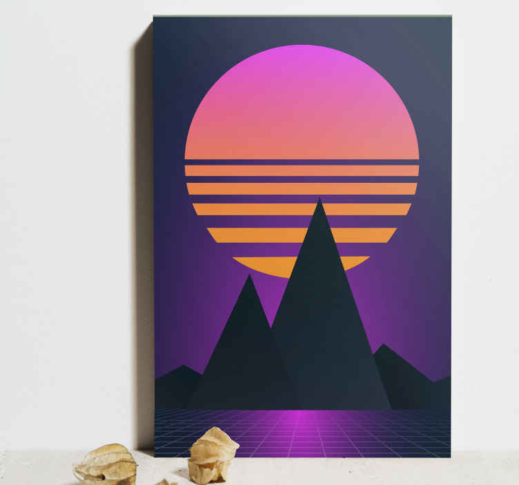 TenStickers. Vintage and retro sun vertical landscape wall art. Vertical landscape canvas print for your house, office and other space decoration. A canvas with lovely design illustrating mountain view at sunset.