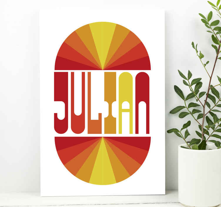TenStickers. Vintage Sunset with name customisable canvas prints. Vintage sunset with name personalized canvas. Provide the name to be printed on this vintage canvas home design in the text field.