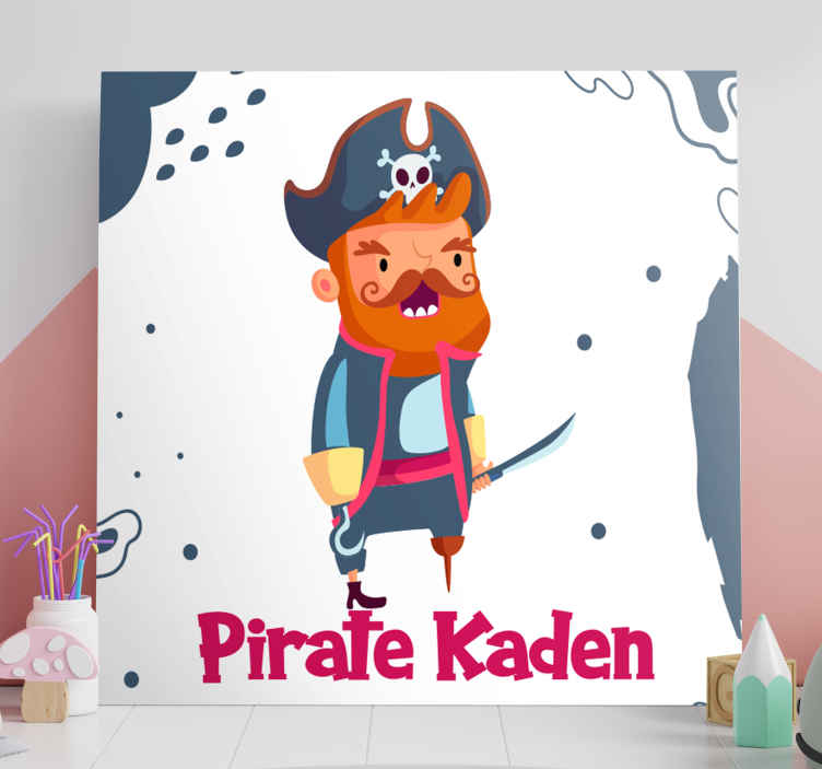 TenStickers. personalised pirate customisable canvas prints. This customisable pirate framed wall art is sure to put a smile on your little one's face! Personalise it with your choice of text.