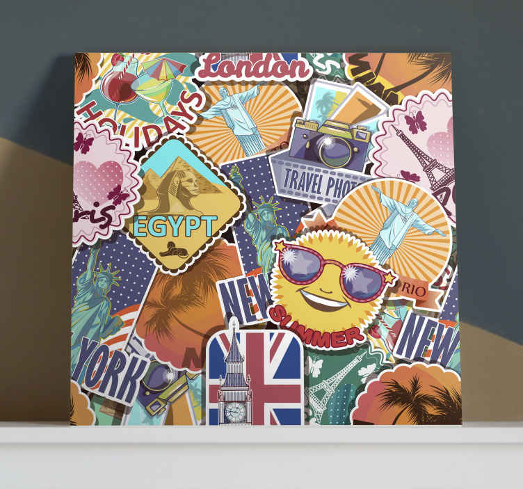 TenStickers. Travel design canva vintage wall prints. The most beautiful destinations are represented on this retro canvas art which will attract a lot of attention to your walls! Home delivery!