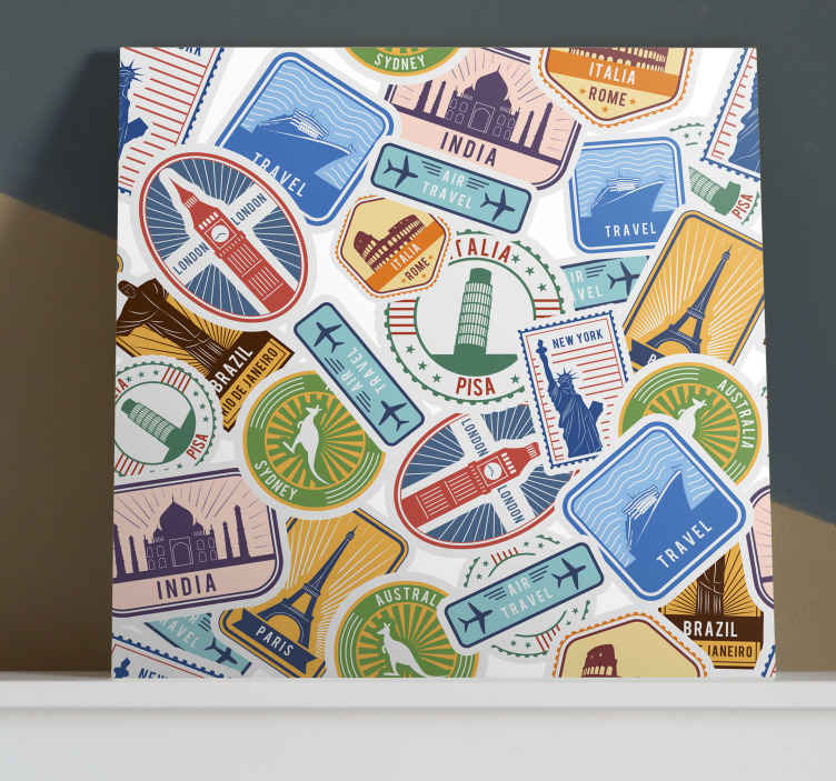 TenStickers. ine art print on bright white modern art prints on canvas. This modern canvas features many cool and imporant country monuments and sights worth looking at! Order your design today and modernize your home!