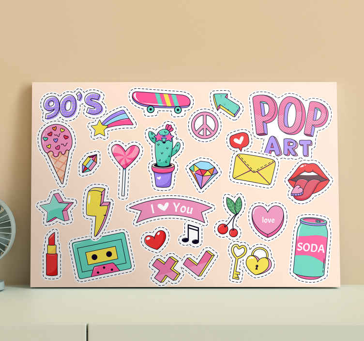 TenStickers. 90's Vintage Patches Doodle  teen canvas prints. This vintage stickers doodle canvas will light up the teen room, with its cool and unique design and high quality material! Buy it online now!