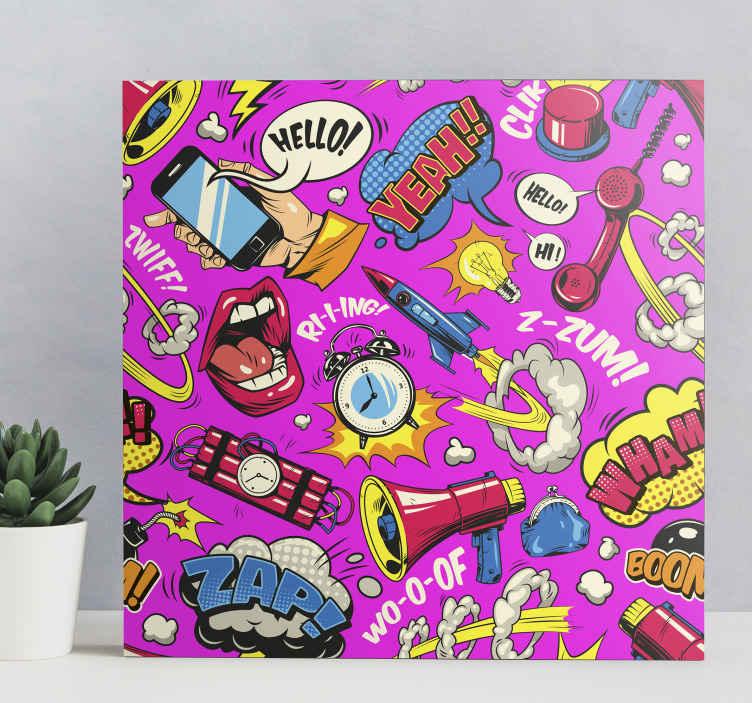 Tenstickers. Kirkas sarjakuva taide aiheinen canvas. Alkuperäinen kangas, joka sisältää erilaisia klassisia piirrettyjä kuvia, kuten huulet, puhekuplat ja dynamiitin. Korkealaatuinen.