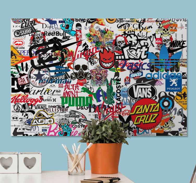 TenStickers. Famous Logo modern art prints on canvas. Modern canvas print which features the logos of various brands including Puma, Vans, Hollister and Prada as well as so many more!