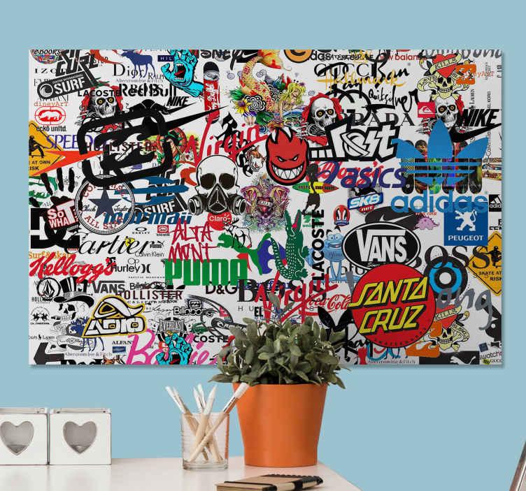 TenStickers. Modern merk logo's canvas schilderen . Moderne canvas schilder met de logo's van verschillende merken, waaronder puma, busjes, hollister en prada en nog veel meer!