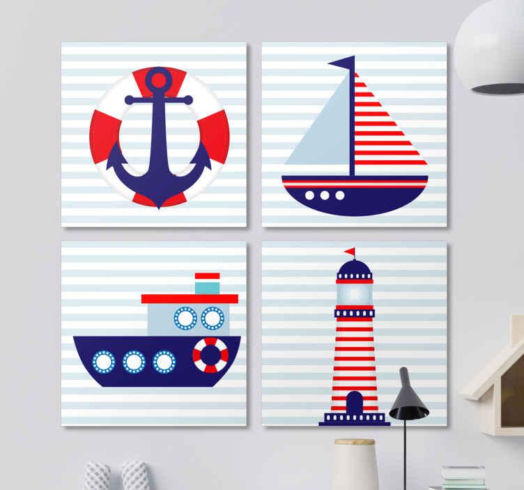 TenStickers. 어린이 해상 캔버스 벽 예술. 바다와 관련된 네 가지 독특한 이미지를 특징으로하는 해상 캔버스 인쇄. +10,000 명의 만족 한 고객. 고품질 재료.