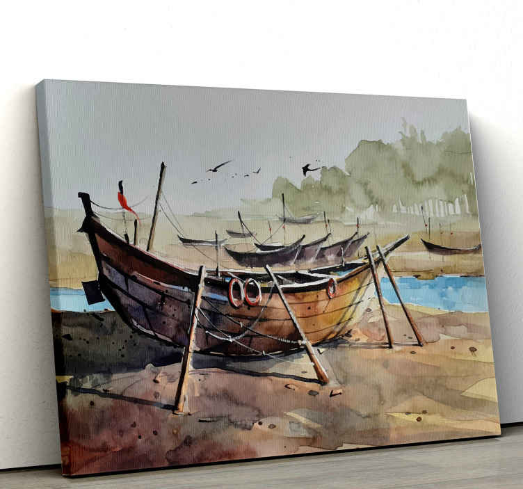 TenStickers. Painted Boat Nautical canvas wall art. This Canvas  can be placed on any room in a house that will impress all your friends and families. Don't wait anymore order now ! Home delivery !
