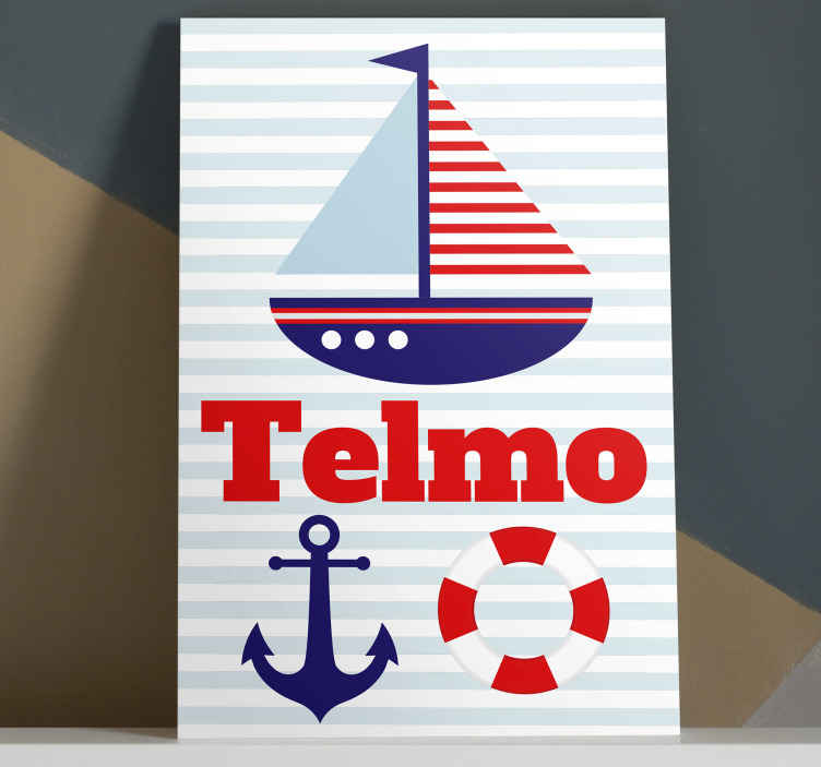 TenStickers. Personalised Kids Nautical canvas wall art. Canvas art of a boat easy to hang on the wall because it is really light. Do not wait anymore and order it now! Home delivery!