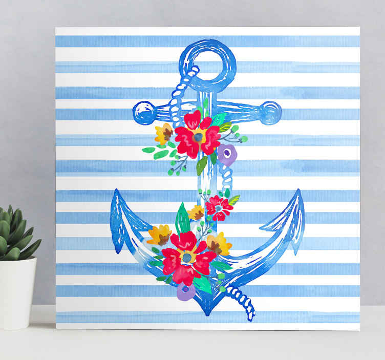 TenStickers. Ancla nautisk lærred væg kunst. Denne ulæselige hjemmelærredskunst vil give en unik stil og forbløffe dine venner og familie, når de går ind på dit værelse! Hjemmelevering!