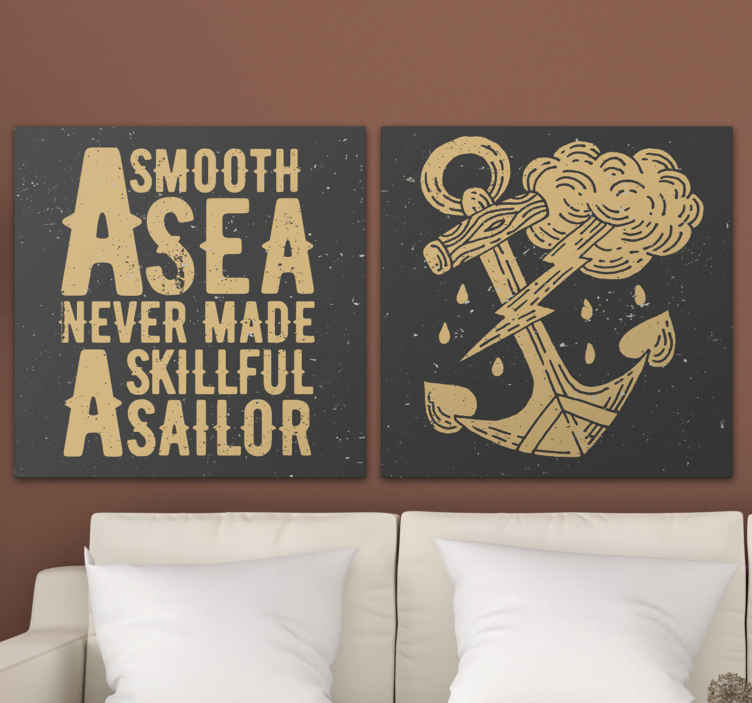 TenStickers. Nautical quote canvas wall art. This nautical canvas wall art will adapt perfectly to any decor, amze your friend and familly with this canvas: Home delivery !