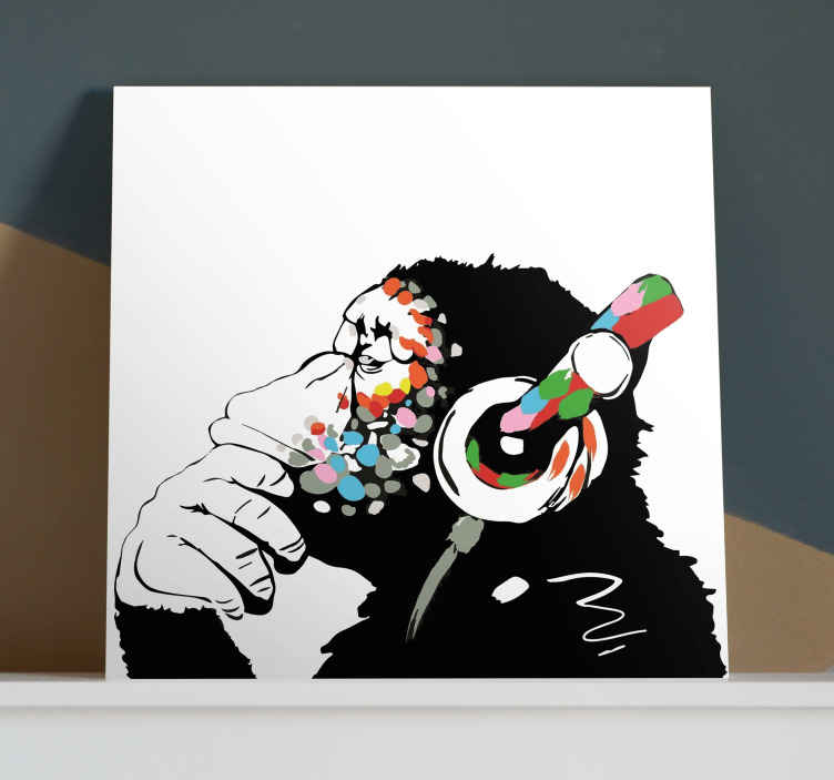 TenStickers. mono Banksy música Music canvas wall art. Canvas print with Banksy monkey. Perfect decoration for your flat. Made of high quality materials. 100% satidfaction. Delivered right to your door.