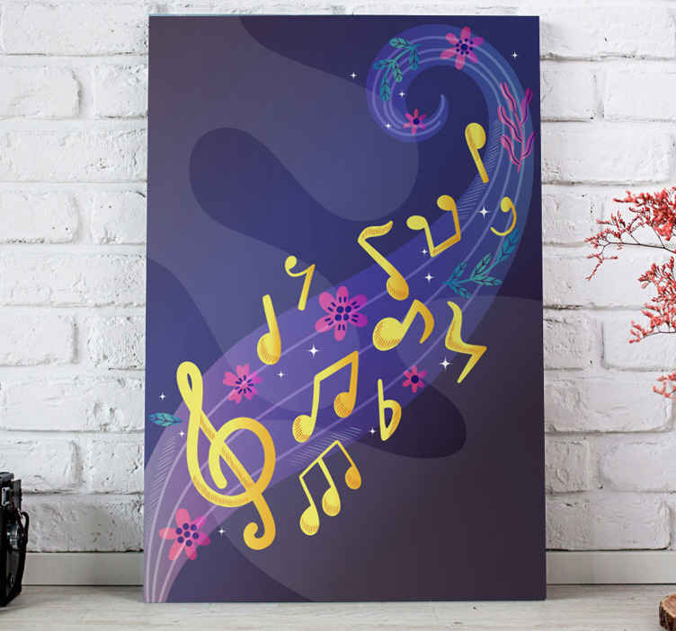 TenStickers. notas musicales Music canvas wall art. Our home canvas wall art are light and are therefore very easy to put on your wall. All you have to do is choose to buy it now!