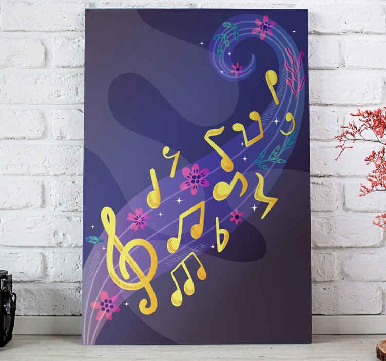 TenStickers. Quadro stampa musicale Note musicali. Le nostre decorazioni da parete su tela per la casa sono leggere e sono quindi molto facili da appendere alla parete. Tutto quello che devi fare è scegliere di acquistarlo ora!