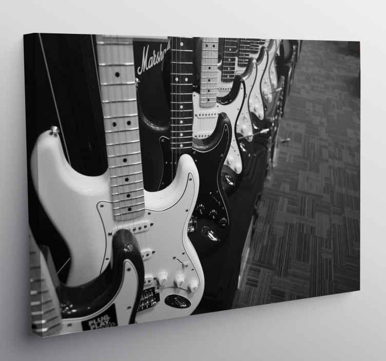 TenStickers. guitarras electricas Music canvas wall art. Wake up the rocker who sleeps in you with this music canvas art, you will give a unique style to your room with this impression of musical note!