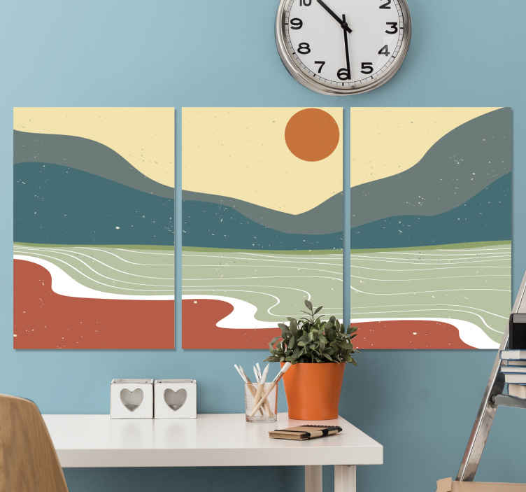 TenStickers. Abstract Nordic landscape canvas art. An abstract Nordic sea view with mountain landscape wall canvas art prints that would keep your guest asking you where you purchased your canvas.