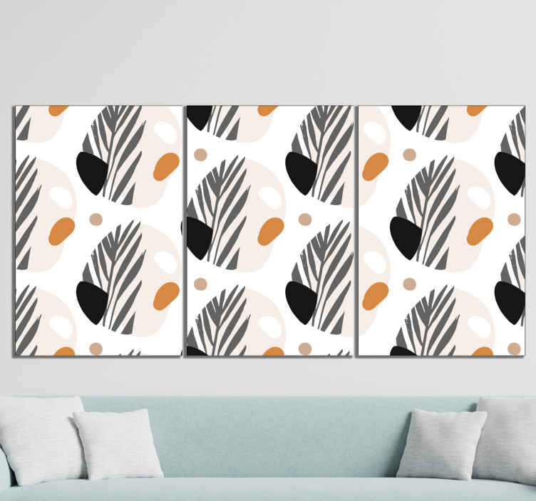 TenStickers. Abstract Scandinavian canvas art. Nordic canvas print which features a pattern of abstract shapes coloured in black, orange, brown, grey and white. Discounts available.