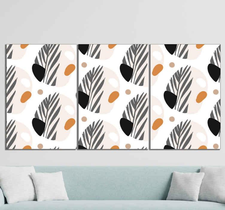 TenStickers. 抽象的斯堪的纳维亚画布艺术. 北欧帆布印花,带有黑色,橙色,棕色,灰色和白色的抽象形状图案。提供折扣。