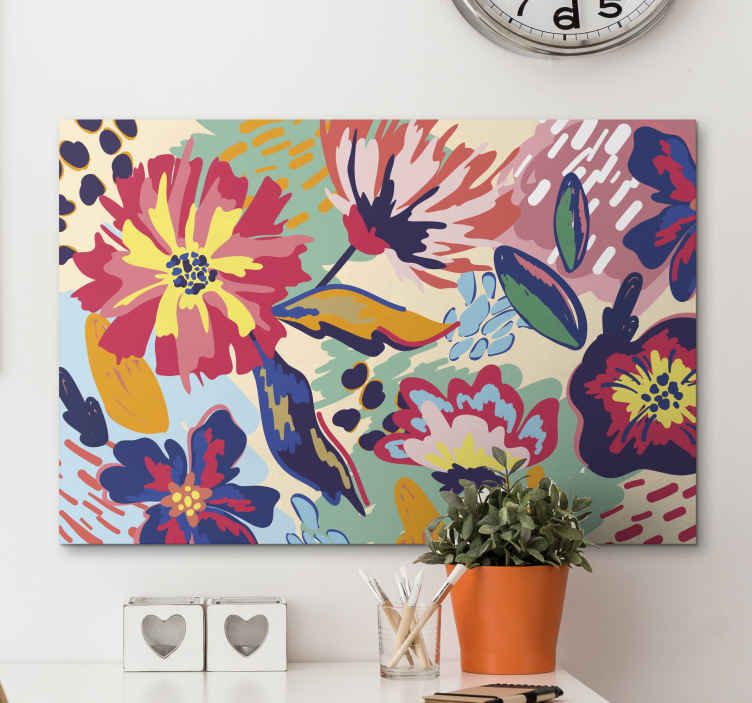 TenStickers. Modern painted flower modern art prints on canvas. Make your living room stand out in the look of this amazing painted flower modern canvas wall art. Its original, durable and printed in quality finish