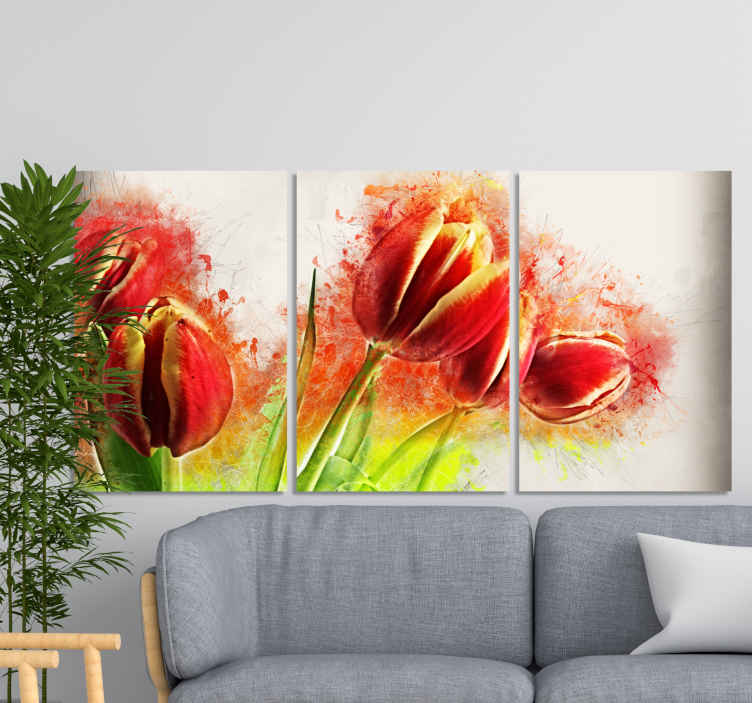 TenStickers. Modern abstract flowers modern art prints on canvas. Modern abstract flowers modern canvas  prints. Suitable to decorate a living room to present it with a luxury appearance.